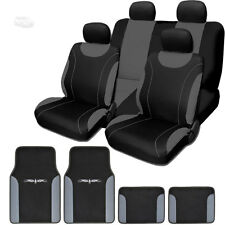 New Flat Cloth Black and Grey Car Seat Covers Floor Mats Full Set For Ford