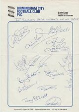 BIRMINGHAM CITY 1987-1988 OFFICIAL TEAM PAGE ORIGINAL HAND SIGNED BY 14 PLAYERS