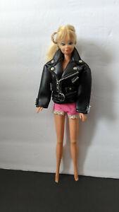 Barbie Doll Sized Eastern Faux Black Leather Jacket Coat Fashion Accessory
