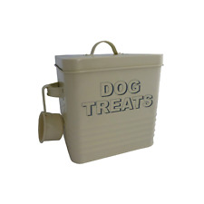 DOG TREATS TIN STORAGE CONTAINER IN CREAM BY THE LEONARDO COLLECTION
