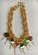 Handmade Multicolor Glass Bead Lollipop Necklace Candy Jewelry UNIQUE!