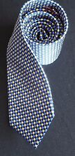 T M LEWIN SILK TIE PALE GOLD ROYAL BLUE AND NAVY BLUE WITH DIAMOND CHECK BNWT
