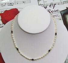 "Single Strand Fresh Water Pearls With B.Onyx & 14K GF Beads Necklace, 16"". FWBON"