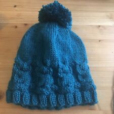 Hand Knitted Girls Owl Hat Teal Age 2-4 Years