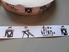 JACK SKELETON nastro di seta grossa 2,2 cm x 1 metro cucito / costumi / artigianato / TORTA