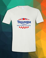 TRIUMPH MOTORCYCLES UK Flag iconic Classic Street Twin White T-Shirt S M L - 3XL