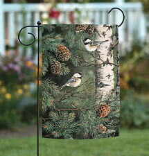 NEW Toland - Pinecone Chickadees - Birch Pine Tree Bird Garden Flag