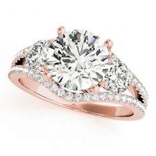 NEW LADIES 14k ROSE GOLD SEMI-MOUNT ROUND THREE STONE DIAMOND ENGAGEMENT RING