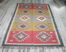 Indian Vintage Turkish Kilim Runner Rug,Wool Jute 4x6 Feet  Long RugCarpet