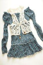 FAVORI - floral-print frill hem tunic + crochet knit bolero jacket -bardot neck