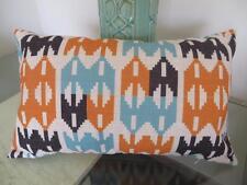 Rectangular Oblong Orange/Turquoise/Black Linen Look Cushion Cover ~ 30x50cm