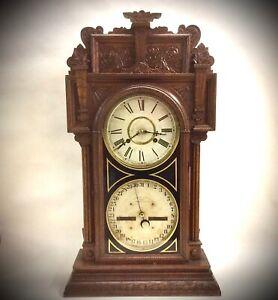 Antique Waterbury Clock Co. #43 Double Dial Calendar Shelf Mantel Clock  AAFA