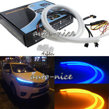 2pc Blue Amber LED Tube Light Strip 60cm Switchback Sequential DRL / Turn Signal