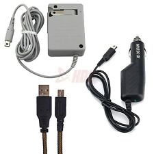 Nintendo DSi & 3DS Charger AC Wall Plug + USB Power Adapter Cable + Car Charger