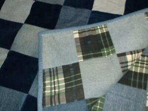Denim reversible quilt jean corduroy cotton 64 x 48 handcrafted patchwork new