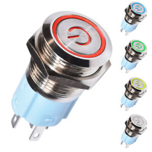 Interrupteur Bouton Poussoir à Verrouillage Bistable Power Ring 16mm 12V DC LED