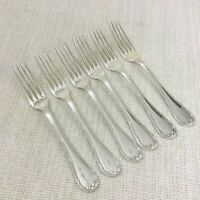Christofle Rubans Silver Plated Cutlery Large Table Forks Set of 6 Ribbon Edge