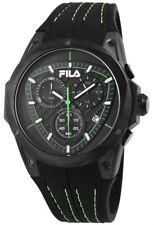 Fila Herrenuhr Schwarz Grün Chronograph Datum Silikon Armbanduhr X-38-821-005