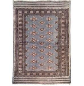 4x6 Hand Knotted Wool & Silk Jaldar Bokhara L. SLATE BLUE  Rug B-75620