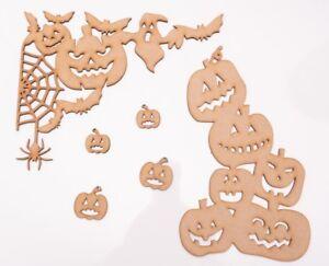 Halloween Wooden MDF Shapes - Bats & Pumpkins Decor - 6 items set + 4 free gifts