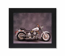 Silver Harley Davidson Fatboy Motorcycle Photo Wall Picture Black Framed