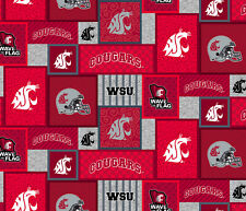 NCAA-Washington State Fleece Fabric-WSU Cougars Fleece Blanket Fabric-WAST1177