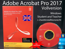 Adobe Acrobat Pro 2017 VERSIONE COMPLETA BOX + CD WIN INGLESE Student/Teacher OVP NUOVO