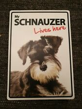 My SCHNAUZER Lives Here A5 Plastic Sign bargain cheap