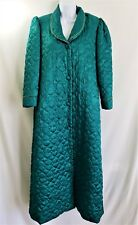 Vtg CHRISTIAN DIOR Quilted Robe Long Housecoat GREEN Womens Size MEDIUM M Small