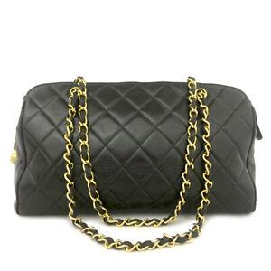 CHANEL Quilted Matelasse Lambskin CC Logo Chain Shoulder Tote Bag Black /80377