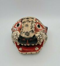 Vintage Wooden Hand Carved Leopard Face Open Mouth Wall Hanging Decor
