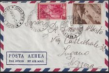 1951 12 Mag aerogram from Salerno for Lugano in fee L. 55 with l.20 Fair Mil