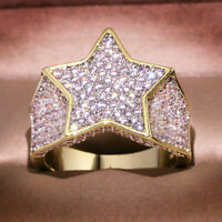 Luxury White Sapphire Man's Five-Pointed Star Ring Yellow Gold Wedding Jewelry