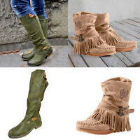 New Women Casual Round Toe Rome Retro Fringe Short Ankle Boots Flat Tube  Shoes