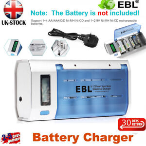 EBL Fast Smart Battery Charger For AA AAA C D Ni-MH LCD Rechargeable Batteries