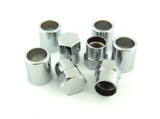 FREE SHIPPING SET OF 4 CHROME TIRE VALVE STEM SLEEVES AND HEX CAPS.
