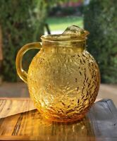 Anchor Hocking LIDO MILANO Honey Gold Amber Crinkle Glass Ball Pitcher Vintage