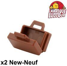 Lego - 2x Minifig utensil valise briefcase marron/reddish brown 4449 NEUF