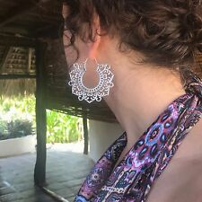 Silver Plated Goddess Tribal Flower Large Flattened Hoop Earrings