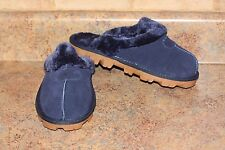 WOMEN'S NAVY SUEDE SOFT COMFY SLIPPERS-SIZE: 8