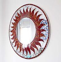 Round red mosaic sun design wall mirror 50cm-hand made in Bali-NEW