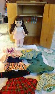 Vtg 1950s-60s Ginny Doll + Wooden Wardrobe Closet Lot. FULL!  Seven Outfits +