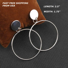 Hoop Disc Dangle Drop Stud Earrings New Women Fashion Jewelry Silver Thin Round