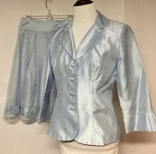 Plaza South Mother of the Bride Embroidered Blue Skirt Suit  Sz 6 EUC (#211)