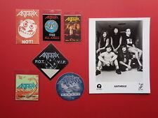 Anthrax,promo photo,6 different Backstage passes,Rare Originals,Various Tours