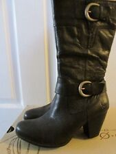 Born Hand Crafted Footwear Adelaide Black 100% Leather High Heel Boots 8.5 NEW
