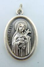 Oval Saint St Therese Pray For Us Silver Toned Pendant Medal Made In Italy 1 IN