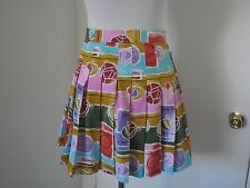 LE COQ SPORTIF NWT MULTI-COLOR SPORT PLEATED POLYESTER A-LINE SKIRT SZ 6