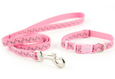 Ancol Small Bite Puppy Small Dog Nylon REFLECTIVE Collar and Lead Set Pink Blue
