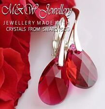 925 Sterling Silver Earrings 16mm Pear/Almond - Scarlet Crystals From Swarovski®